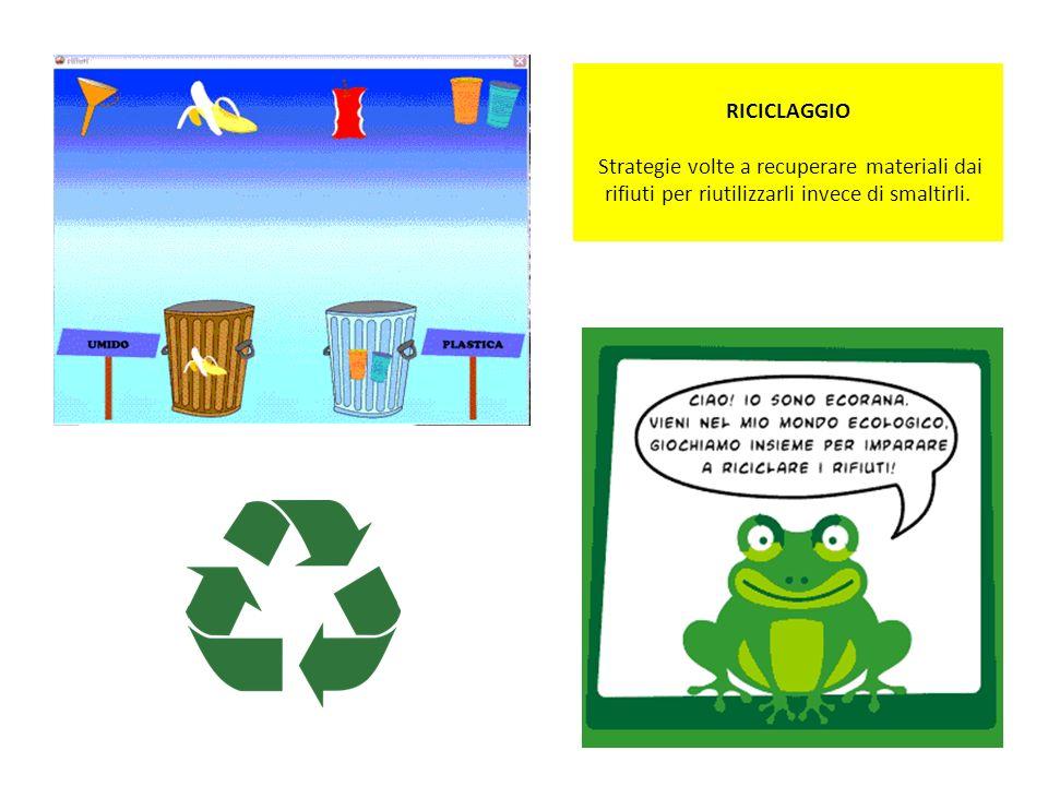 RICICLAGGIO Strategie volte a recuperare materiali dai rifiuti per riutilizzarli invece di smaltirli.