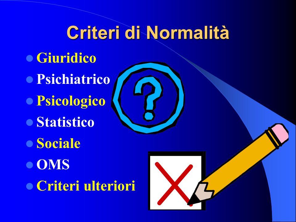 Criteri di Normalità Giuridico Psichiatrico Psicologico Statistico