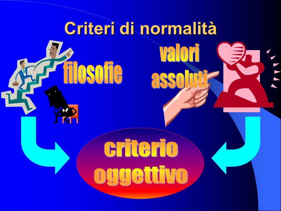 Criteri di normalità valori assoluti filosofie criterio oggettivo