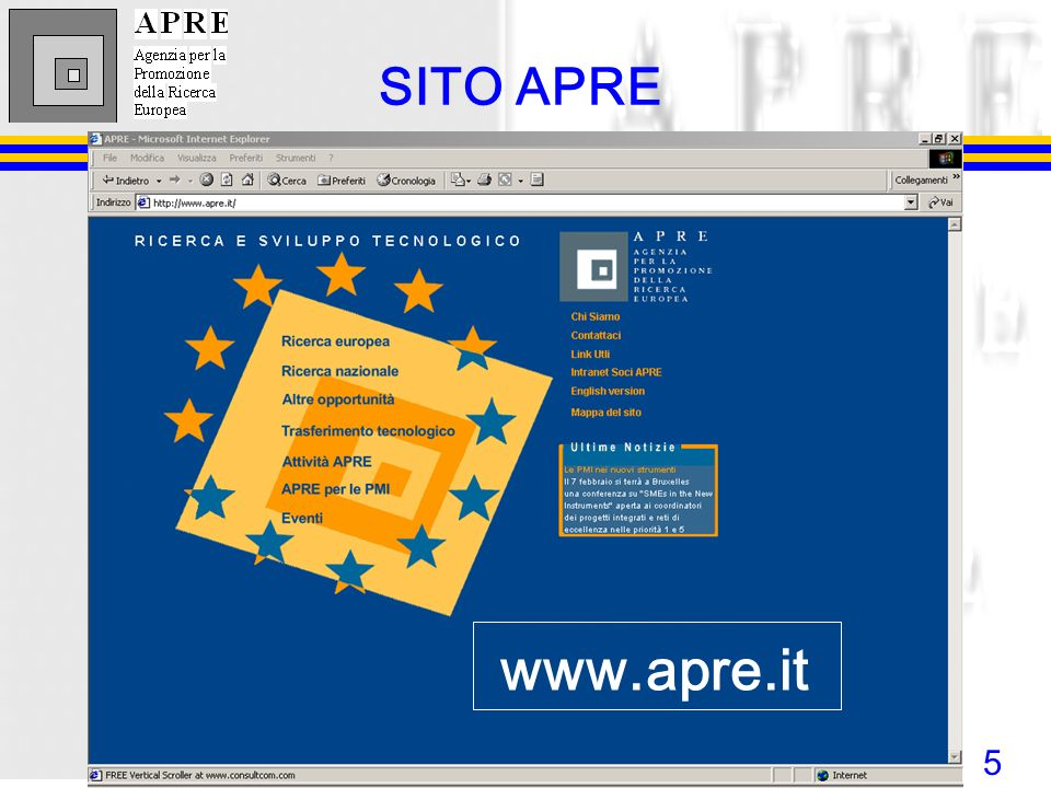 SITO APRE www.apre.it
