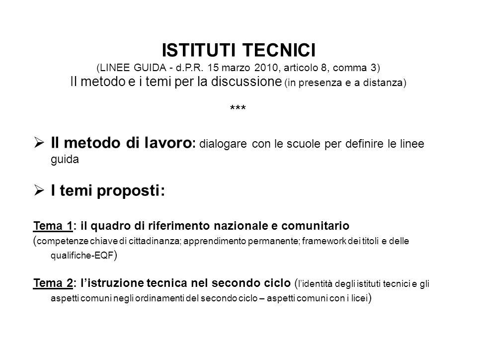 ISTITUTI TECNICI (LINEE GUIDA - d.P.R. 15 marzo 2010, articolo 8, comma 3) Il metodo e i temi per la discussione (in presenza e a distanza)
