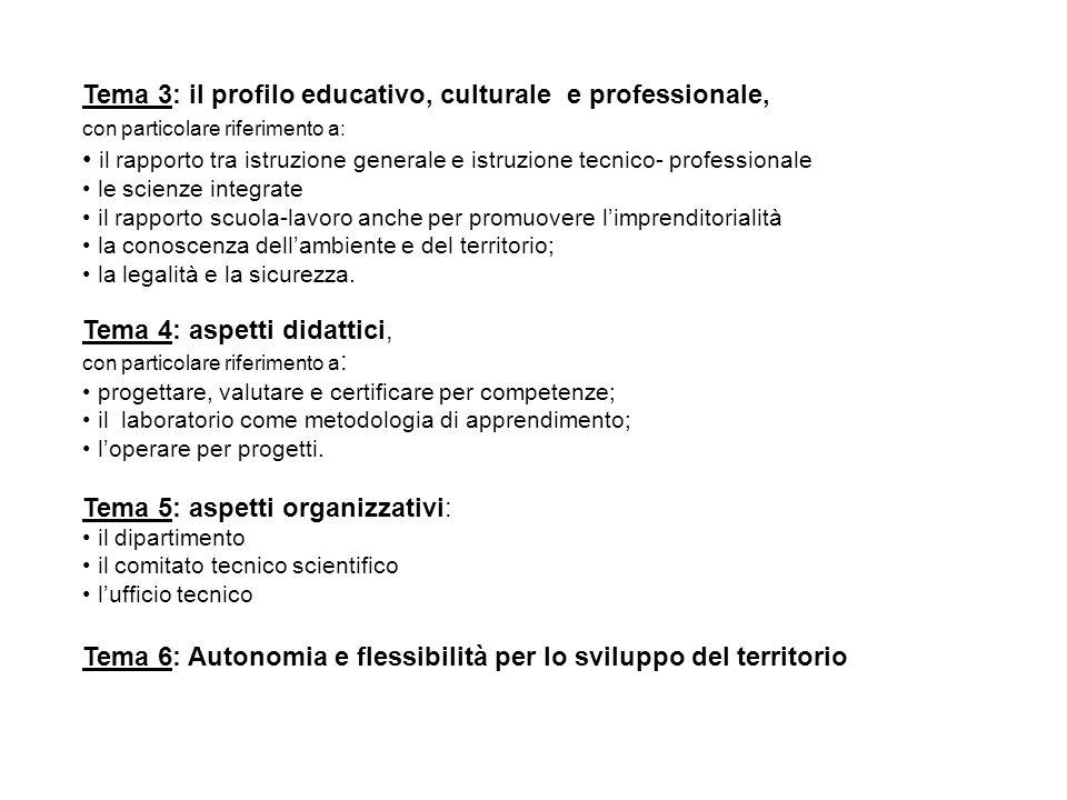 Tema 3: il profilo educativo, culturale e professionale,