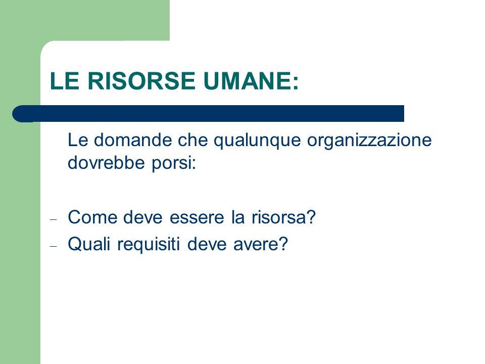 LE RISORSE UMANE: Le domande che qualunque organizzazione dovrebbe porsi: Come deve essere la risorsa