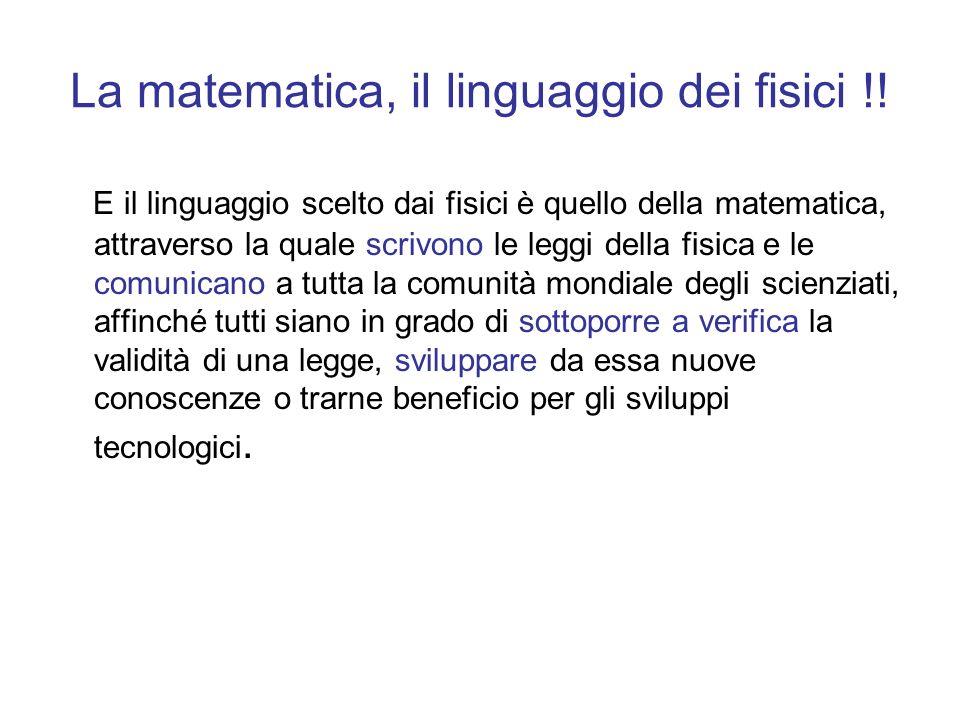La matematica, il linguaggio dei fisici !!