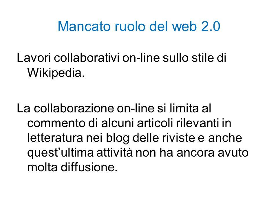 Mancato ruolo del web 2.0