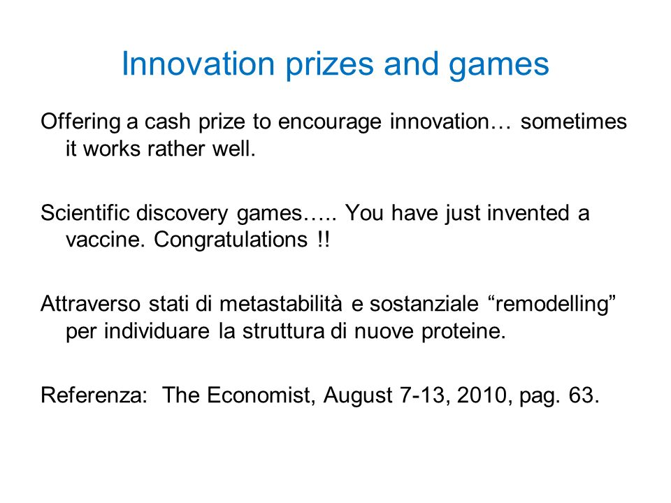 Innovation prizes and games