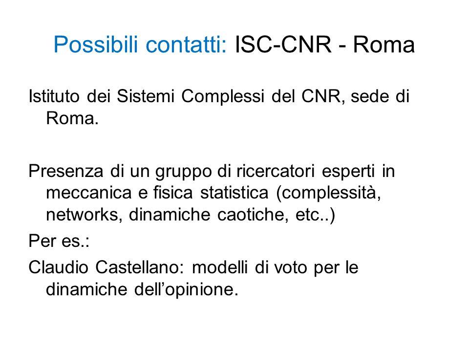 Possibili contatti: ISC-CNR - Roma