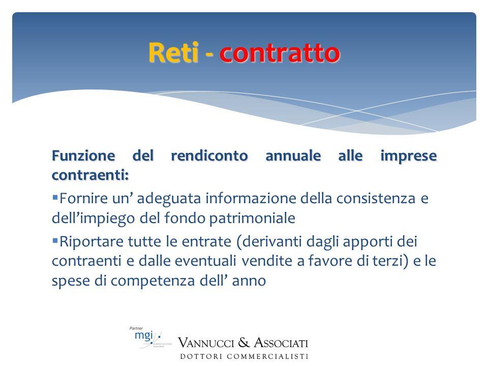 Reti - contratto Funzione del rendiconto annuale alle imprese contraenti: