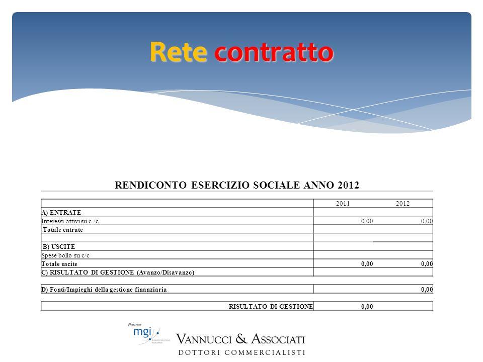 RENDICONTO ESERCIZIO SOCIALE ANNO 2012