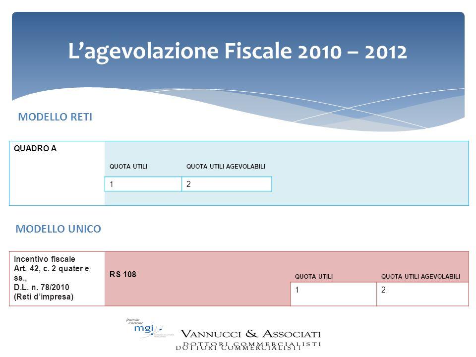 L'agevolazione Fiscale 2010 – 2012