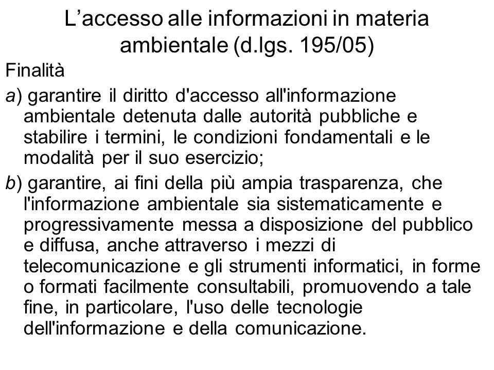 L'accesso alle informazioni in materia ambientale (d.lgs. 195/05)