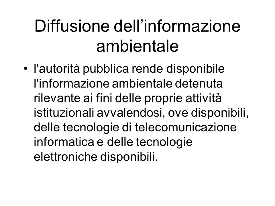 Diffusione dell'informazione ambientale