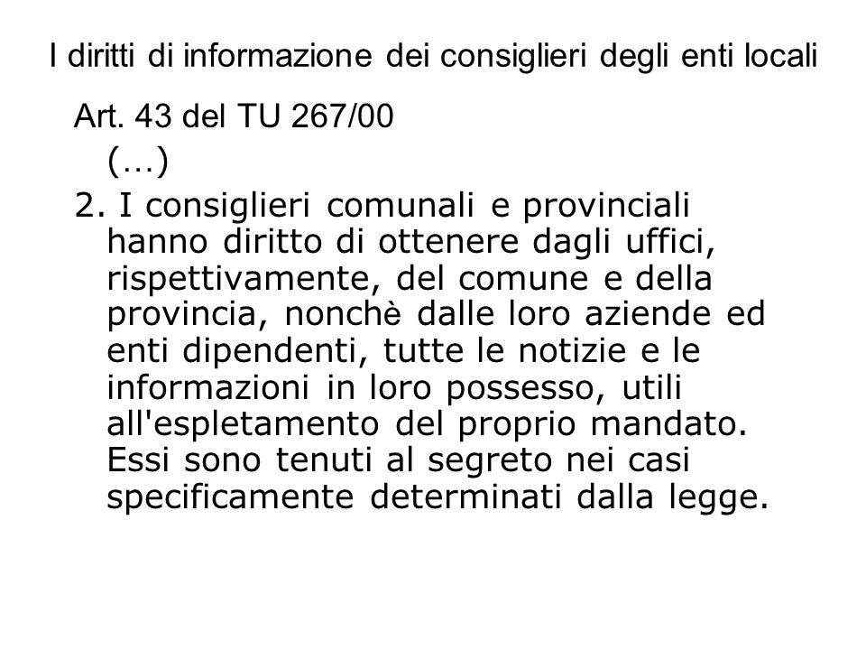 I diritti di informazione dei consiglieri degli enti locali