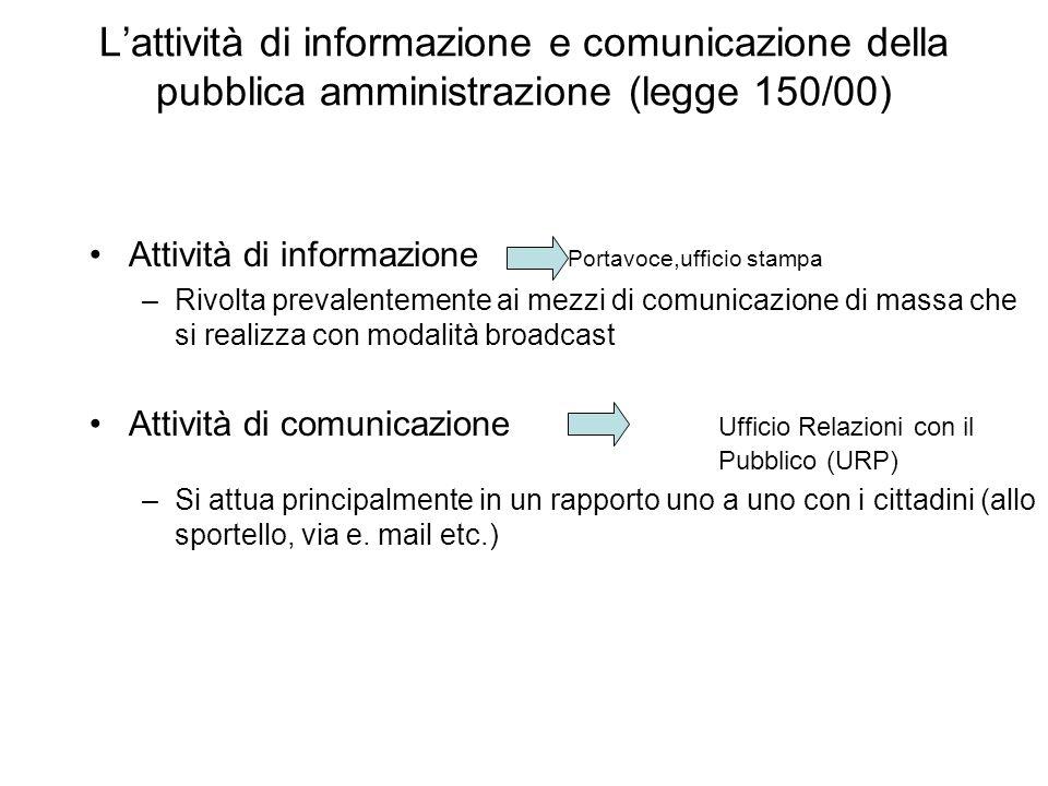 L'attività di informazione e comunicazione della pubblica amministrazione (legge 150/00)