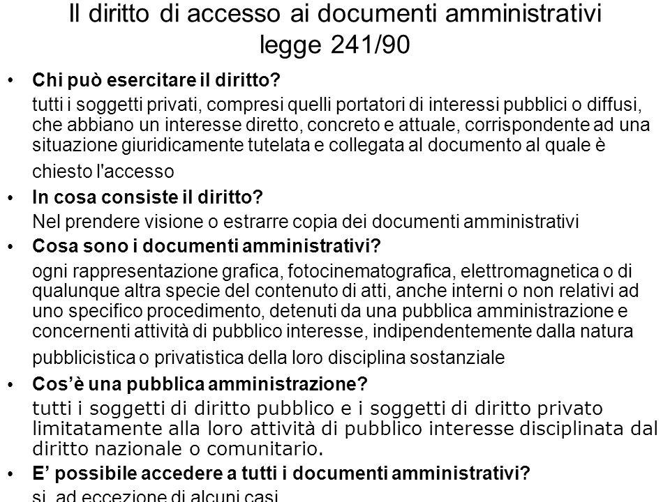 Il diritto di accesso ai documenti amministrativi legge 241/90