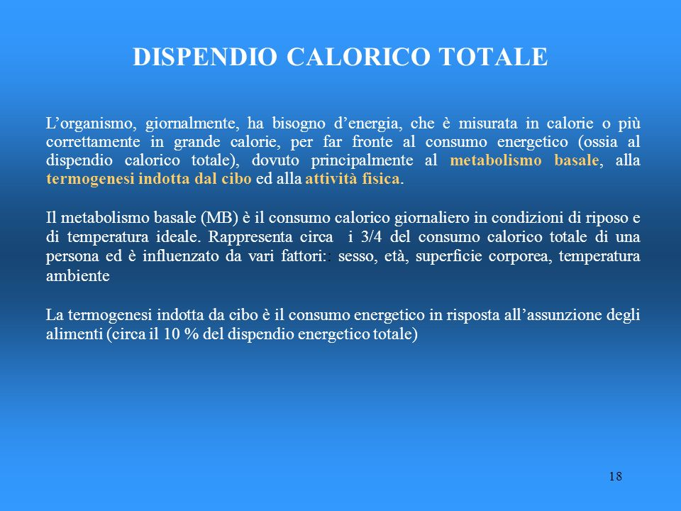 DISPENDIO CALORICO TOTALE