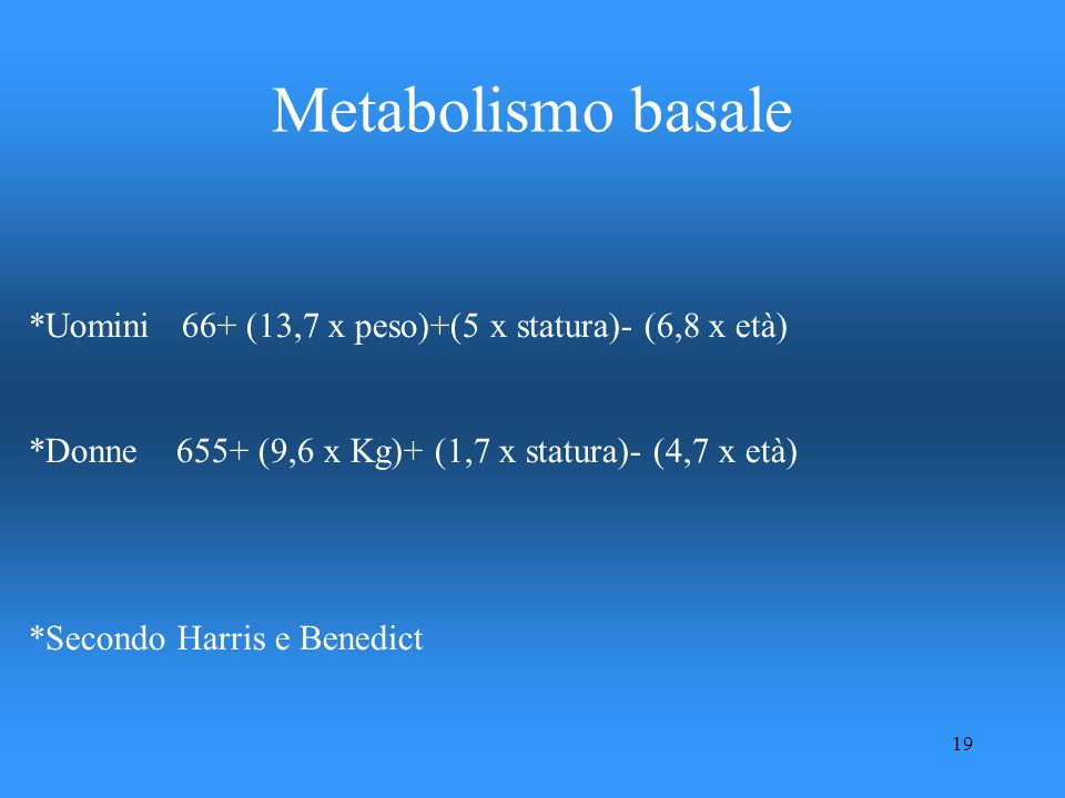 Metabolismo basale *Uomini 66+ (13,7 x peso)+(5 x statura)- (6,8 x età) *Donne 655+ (9,6 x Kg)+ (1,7 x statura)- (4,7 x età)
