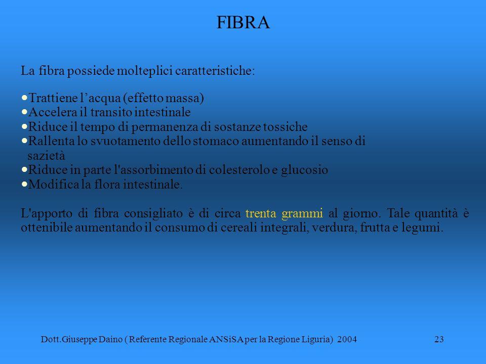 FIBRA La fibra possiede molteplici caratteristiche: