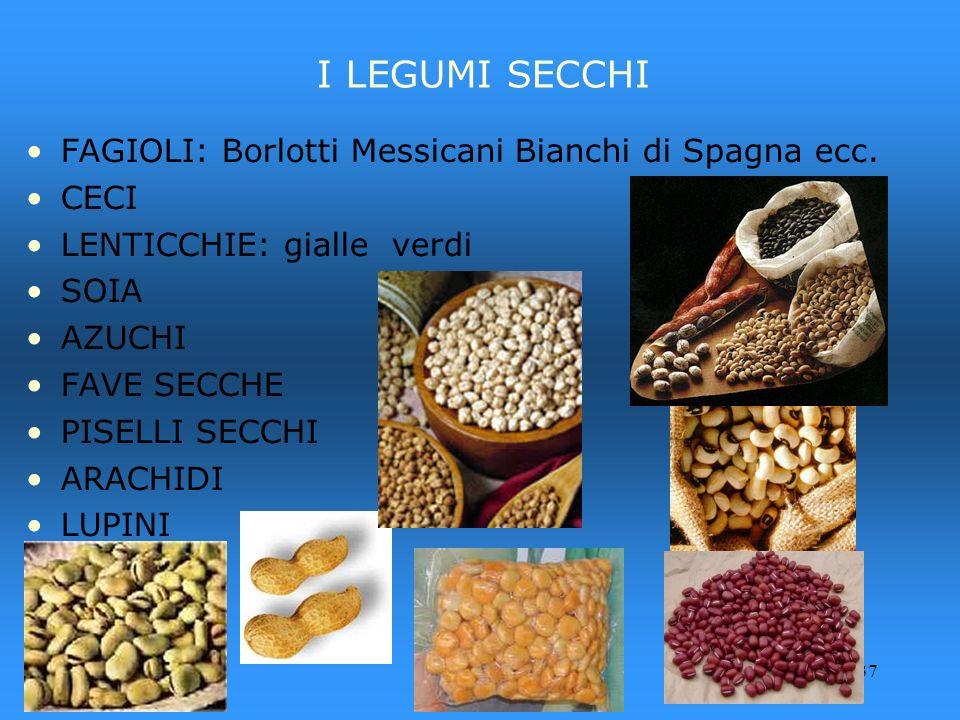 I LEGUMI SECCHI FAGIOLI: Borlotti Messicani Bianchi di Spagna ecc.