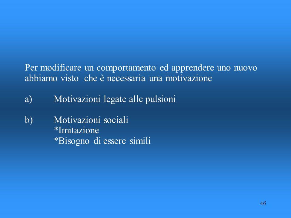 Per modificare un comportamento ed apprendere uno nuovo abbiamo visto che è necessaria una motivazione a) Motivazioni legate alle pulsioni b) Motivazioni sociali *Imitazione *Bisogno di essere simili