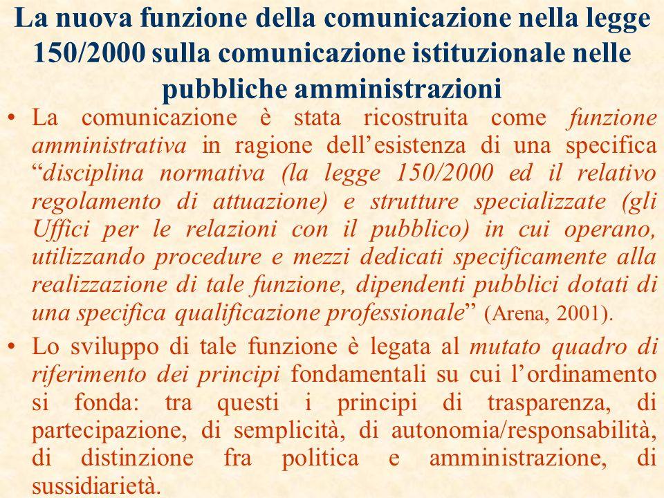 La nuova funzione della comunicazione nella legge 150/2000 sulla comunicazione istituzionale nelle pubbliche amministrazioni