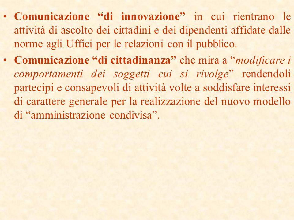 Comunicazione di innovazione in cui rientrano le attività di ascolto dei cittadini e dei dipendenti affidate dalle norme agli Uffici per le relazioni con il pubblico.
