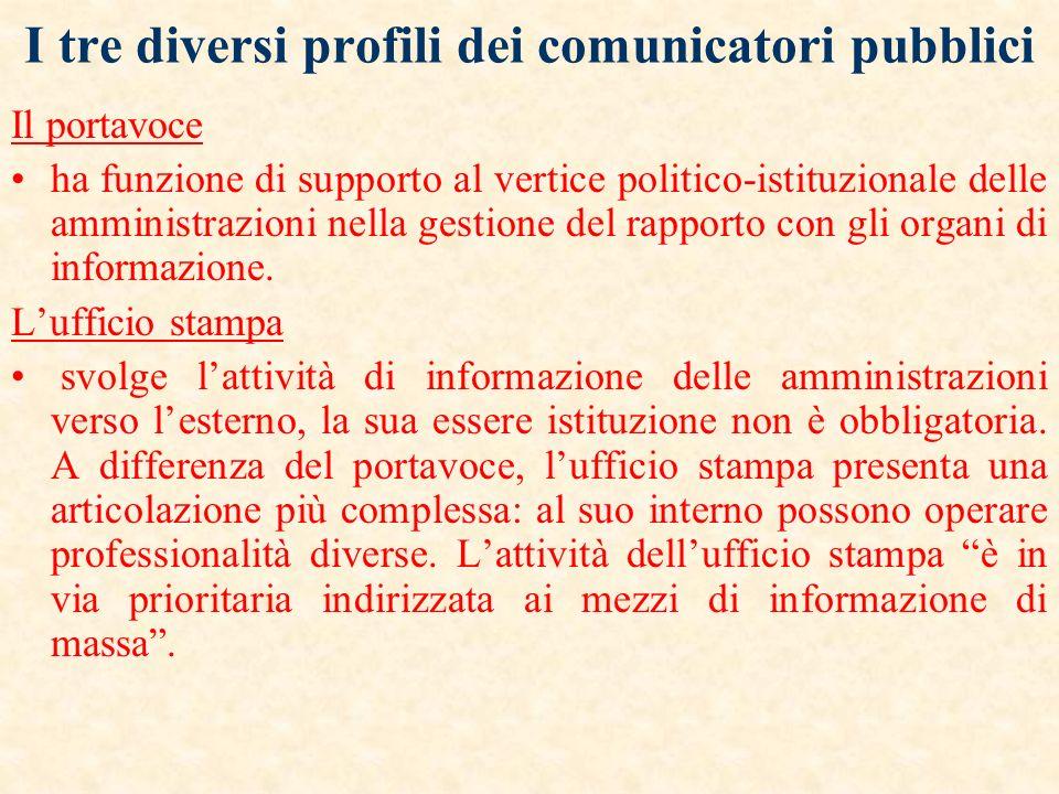 I tre diversi profili dei comunicatori pubblici