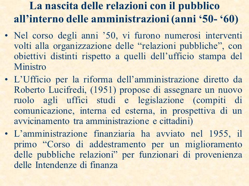 La nascita delle relazioni con il pubblico all'interno delle amministrazioni (anni '50- '60)