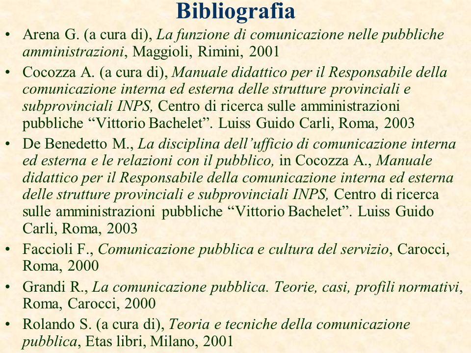BibliografiaArena G. (a cura di), La funzione di comunicazione nelle pubbliche amministrazioni, Maggioli, Rimini, 2001.