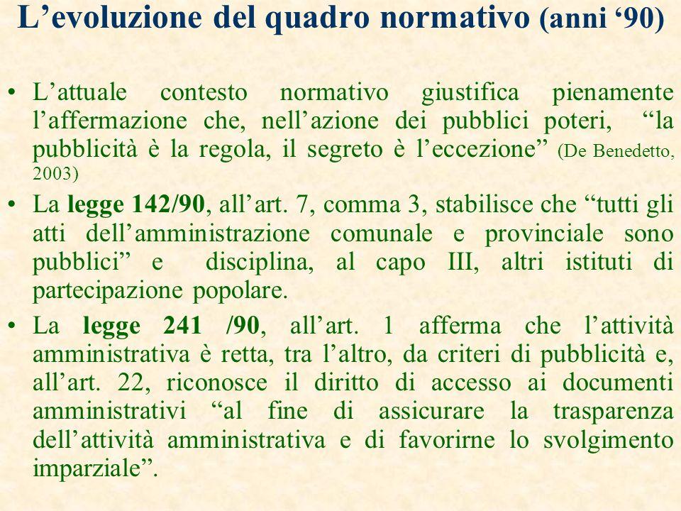 L'evoluzione del quadro normativo (anni '90)