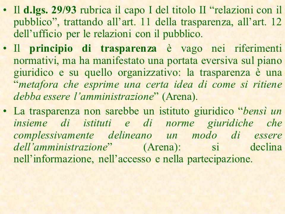 Il d.lgs. 29/93 rubrica il capo I del titolo II relazioni con il pubblico , trattando all'art. 11 della trasparenza, all'art. 12 dell'ufficio per le relazioni con il pubblico.