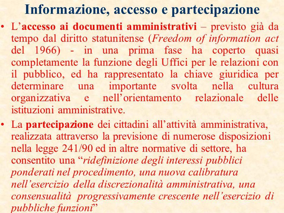 Informazione, accesso e partecipazione