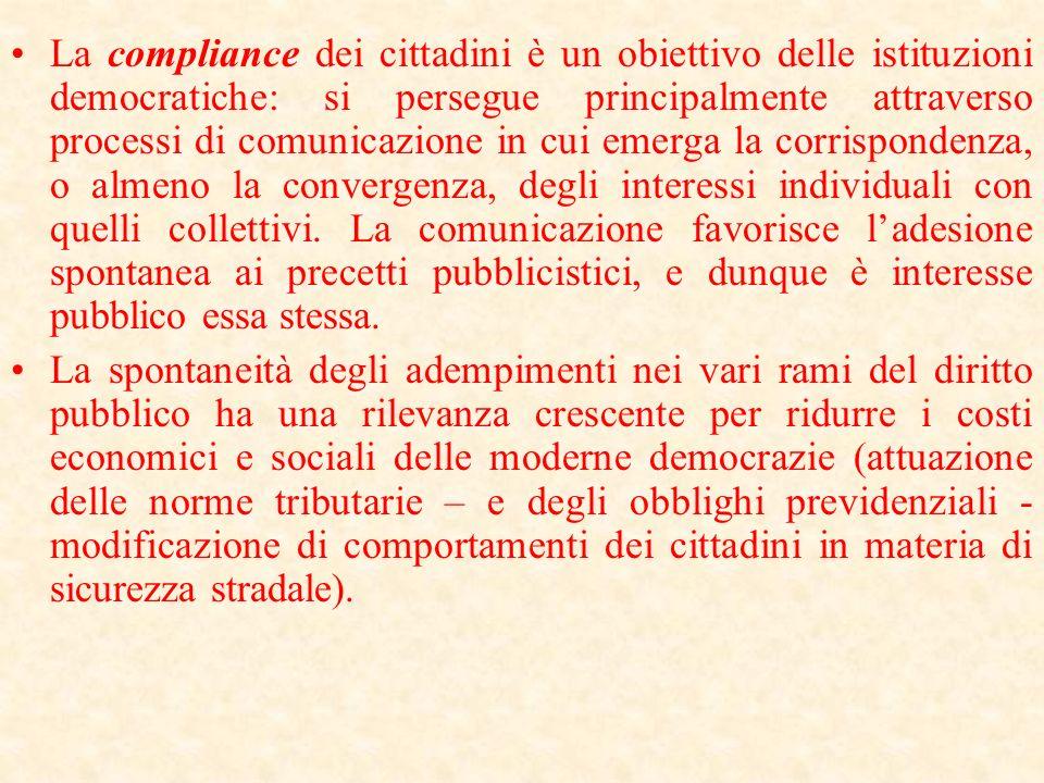 La compliance dei cittadini è un obiettivo delle istituzioni democratiche: si persegue principalmente attraverso processi di comunicazione in cui emerga la corrispondenza, o almeno la convergenza, degli interessi individuali con quelli collettivi. La comunicazione favorisce l'adesione spontanea ai precetti pubblicistici, e dunque è interesse pubblico essa stessa.