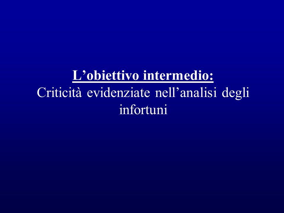 L'obiettivo intermedio: Criticità evidenziate nell'analisi degli infortuni