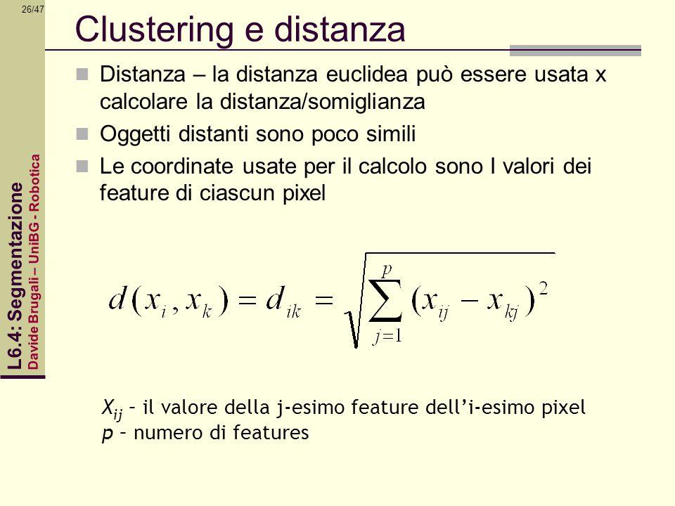 Clustering e distanza Distanza – la distanza euclidea può essere usata x calcolare la distanza/somiglianza.