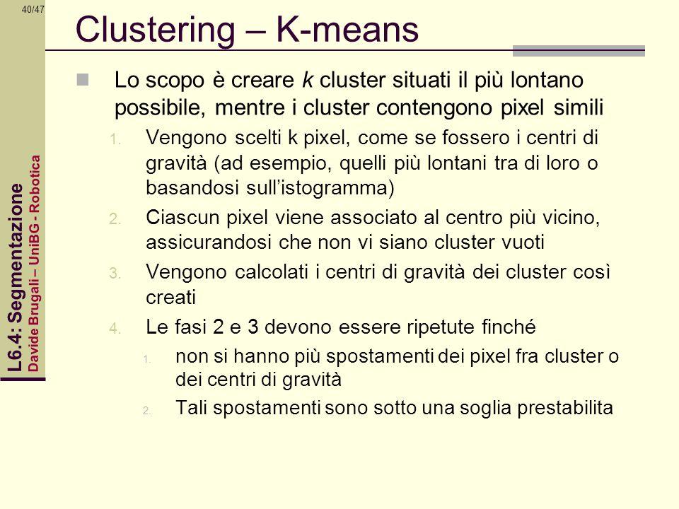 Clustering – K-means Lo scopo è creare k cluster situati il più lontano possibile, mentre i cluster contengono pixel simili.