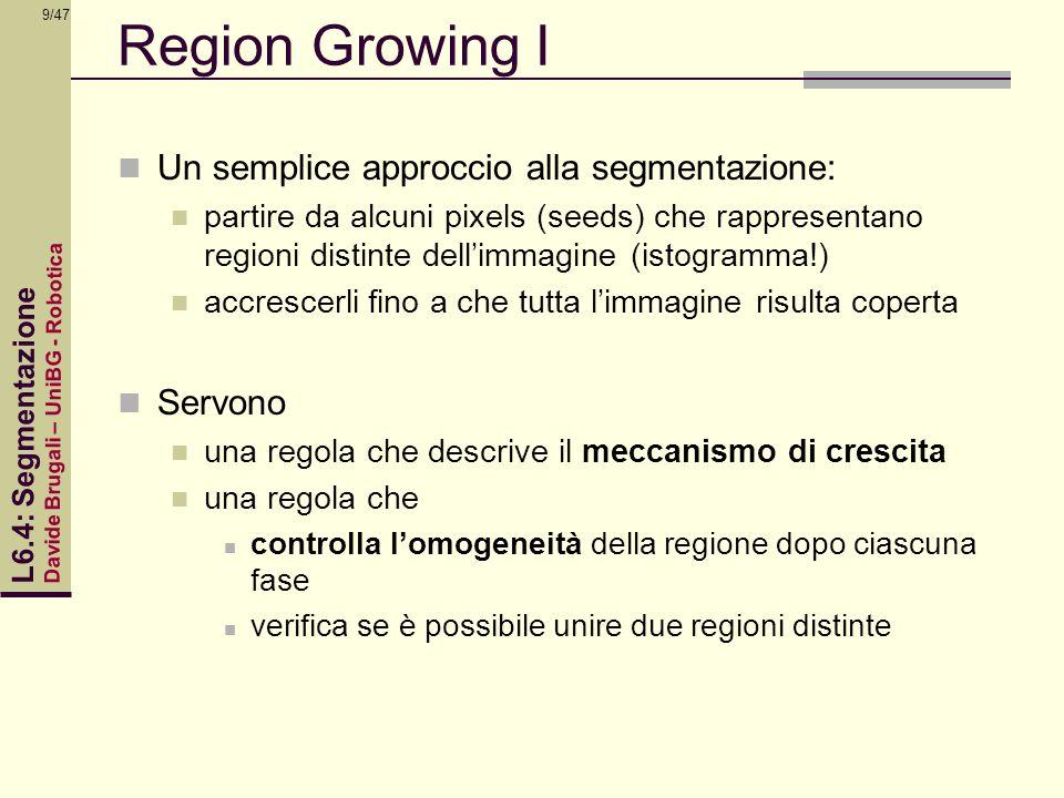 Region Growing I Un semplice approccio alla segmentazione: Servono