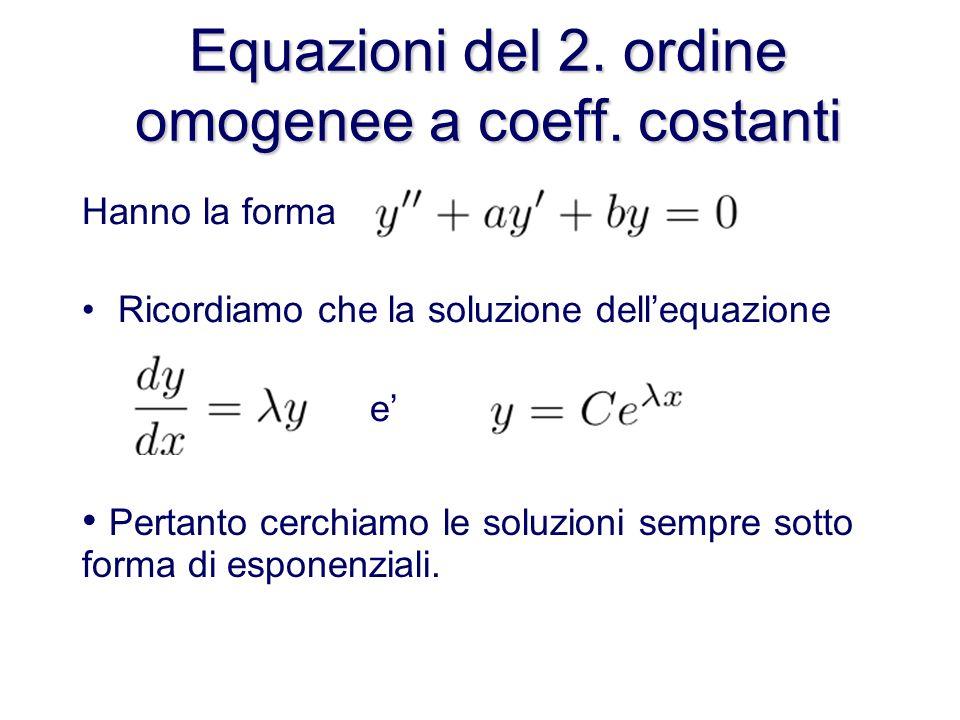 Equazioni del 2. ordine omogenee a coeff. costanti