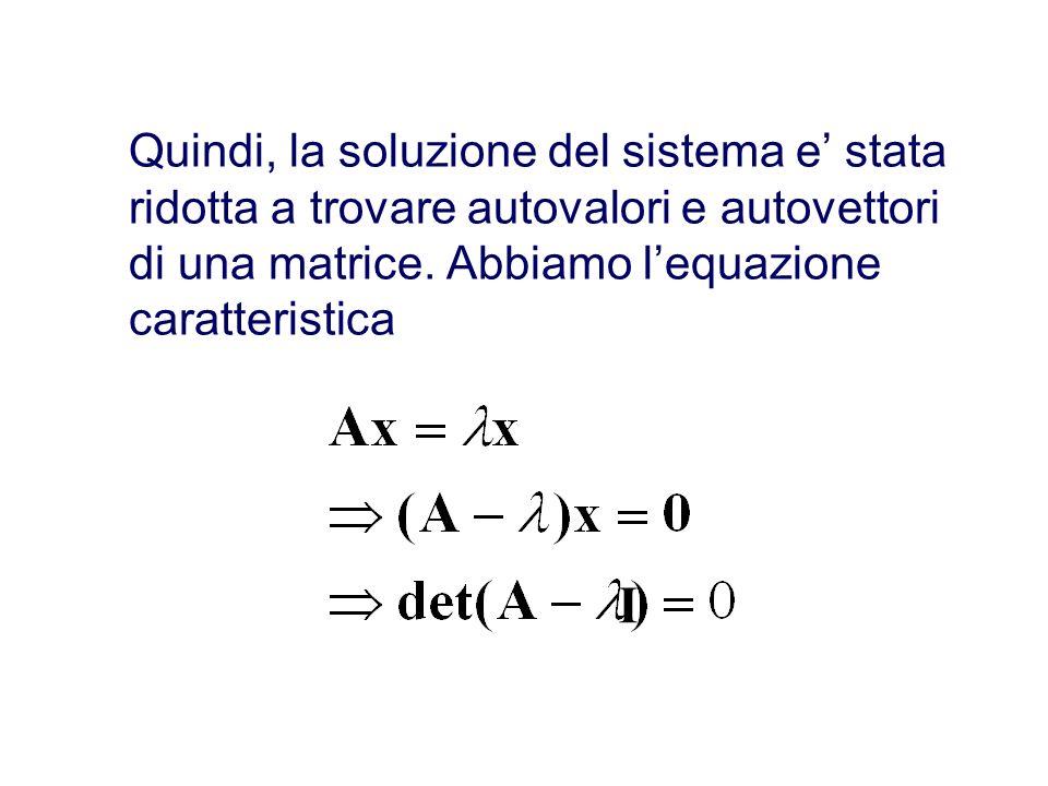 Quindi, la soluzione del sistema e' stata ridotta a trovare autovalori e autovettori di una matrice. Abbiamo l'equazione caratteristica