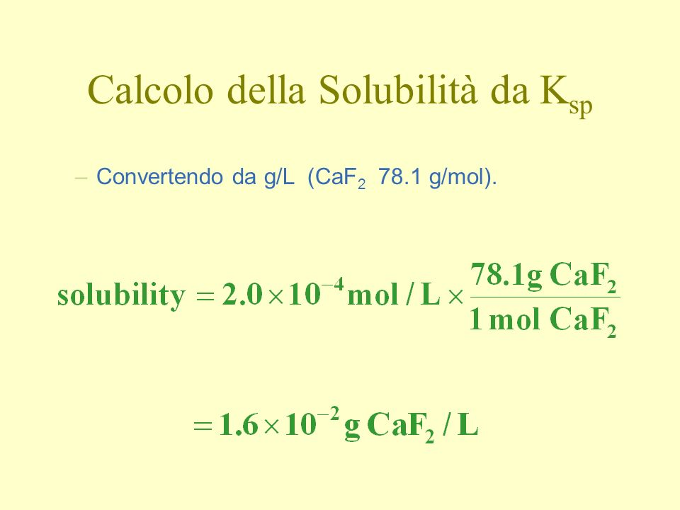 Calcolo della Solubilità da Ksp