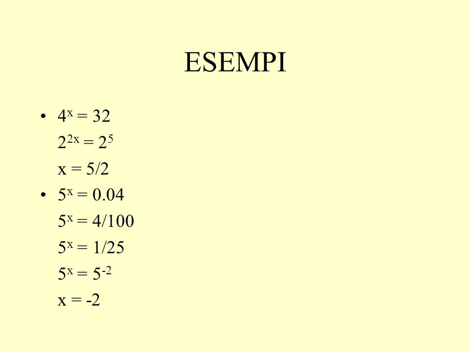 ESEMPI 4x = 32 22x = 25 x = 5/2 5x = 0.04 5x = 4/100 5x = 1/25