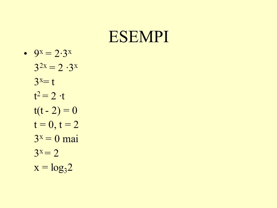 ESEMPI 9x = 2·3x 32x = 2 ·3x 3x= t t2 = 2 ·t t(t - 2) = 0 t = 0, t = 2
