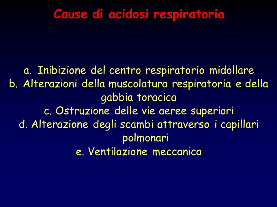 Cause di acidosi respiratoria