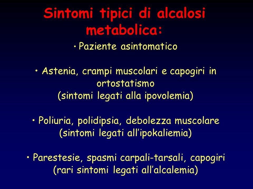 Sintomi tipici di alcalosi metabolica: