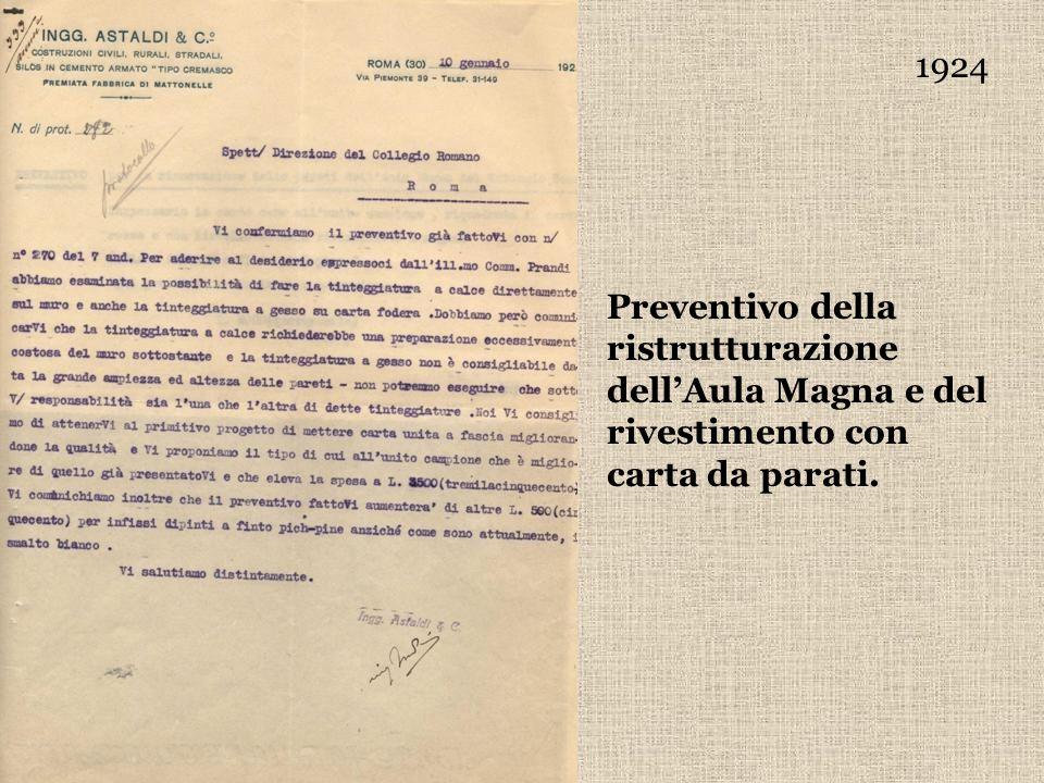 1924 Preventivo della ristrutturazione dell'Aula Magna e del rivestimento con carta da parati.
