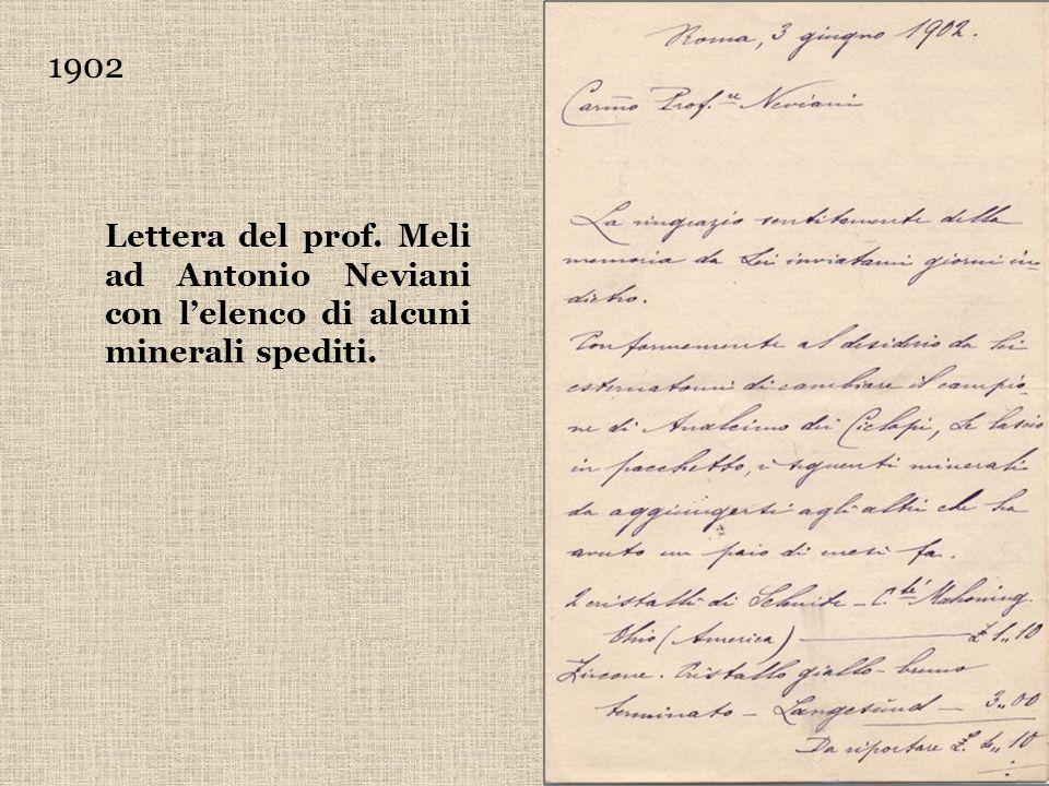 1902 Lettera del prof. Meli ad Antonio Neviani con l'elenco di alcuni minerali spediti.