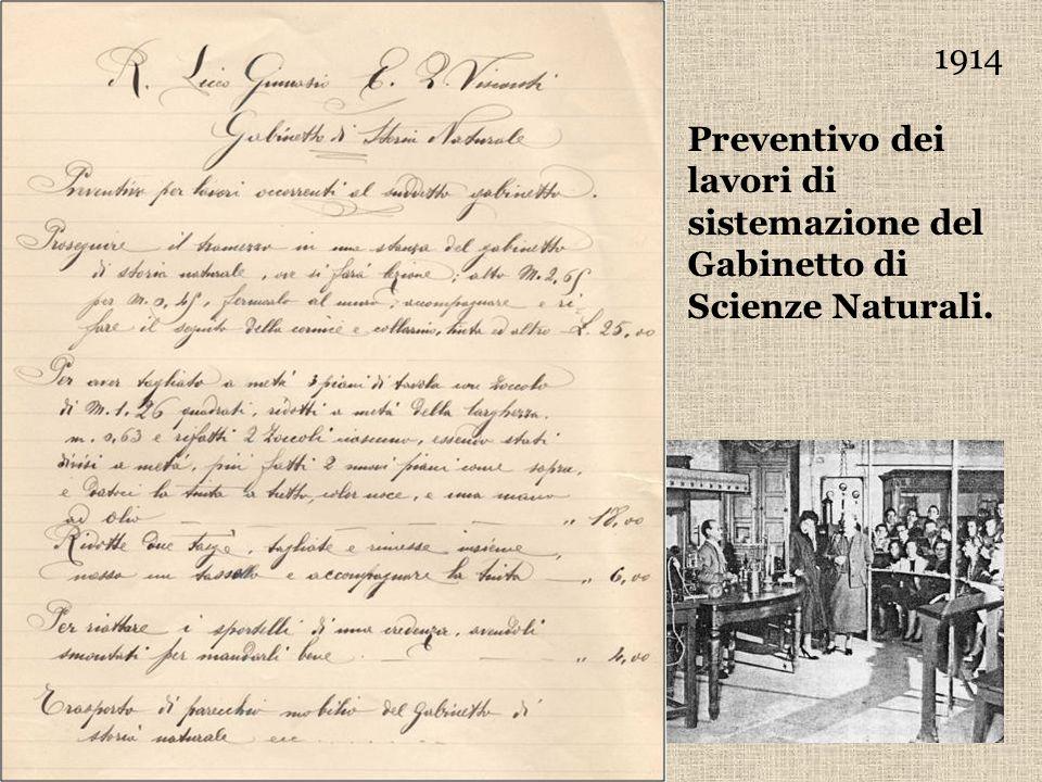 1914 Preventivo dei lavori di sistemazione del Gabinetto di Scienze Naturali.