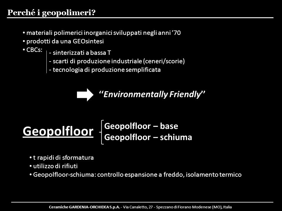 Geopolfloor ''Environmentally Friendly'' Geopolfloor – base