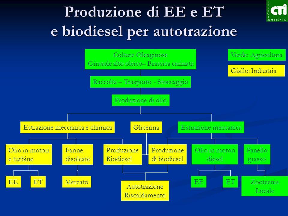 Produzione di EE e ET e biodiesel per autotrazione