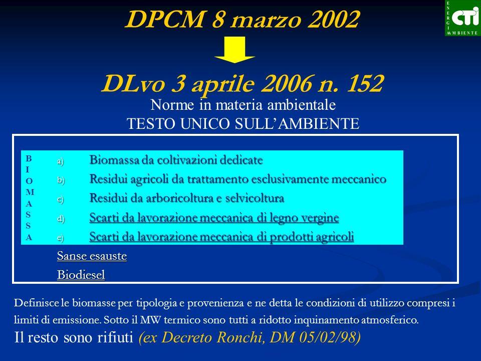 DPCM 8 marzo 2002 DLvo 3 aprile 2006 n. 152
